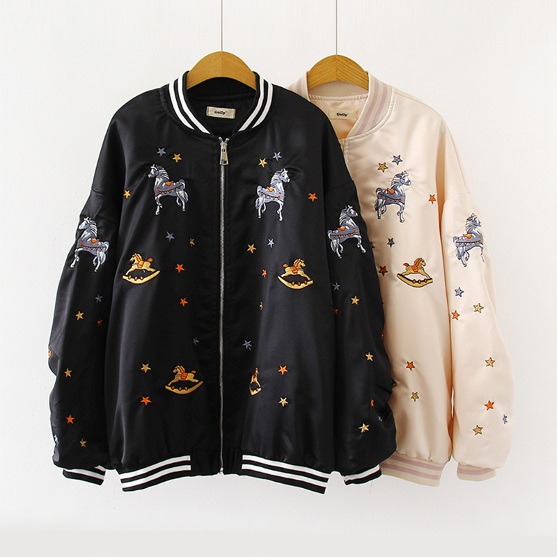 Embroidery Bomber Jacket Women Clothing Zipper Plus Size Loose Streetwear Coats Casual Baseball Uniform Jackets Ladies Outwear