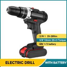 Screwdriver Cordless-Electric-Drill Tools-Set 2x6000mah-Battery 2-Speed Wireless 25 48V