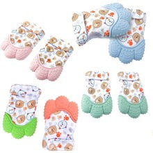 Baby Silicone Nursing-Mittens Sucking Chewable Newborn Stop 2pcs Thumb-Toy