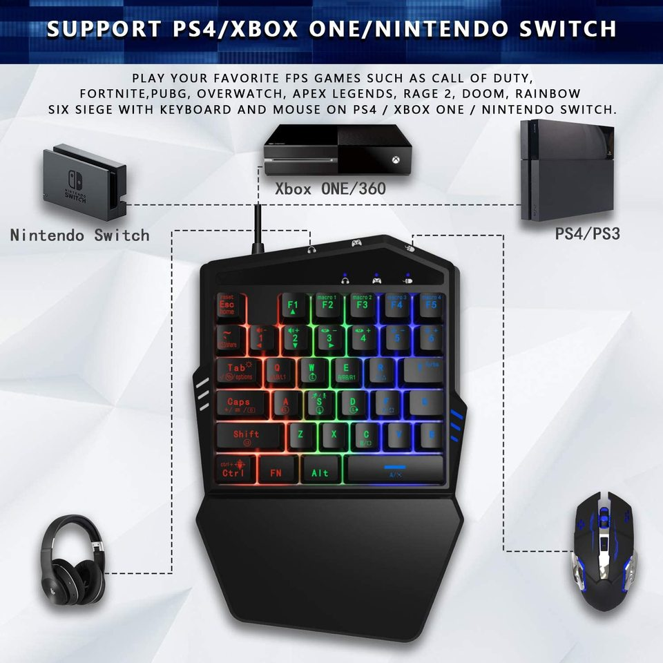 Ifyoo Gaming Keyboard And Mouse Combo Converter Build In For Ps4 Ps3 Xbox One Nintendo Switch Xbox 360 For Call Of Duty Gamepads Aliexpress