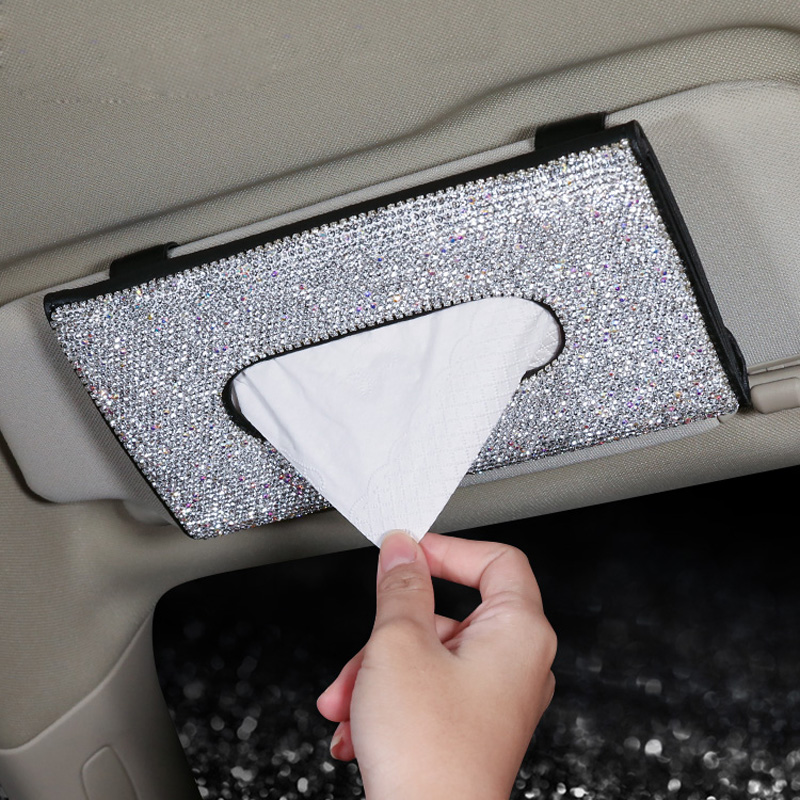 Bling Bling Diamond Car Visor Tissue Holder Hanging Leather Crystals Rhinestone Paper Towel Cover Case For Women Car Accessories