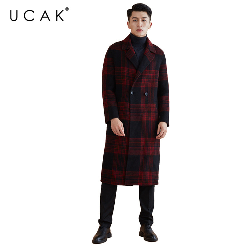 UCAK Brand Wool Coat 2019 New Arrivals Winter Coat Men Fashion Long Jacket Men Big Collar Trench Overcoat Thick Warm Coats U8005