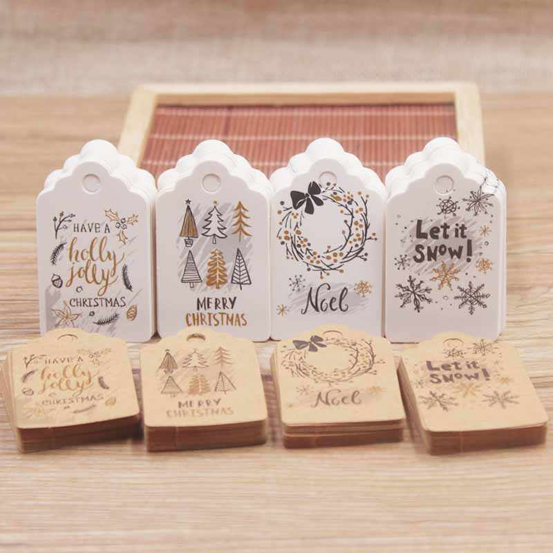 50pcs 5*3cm Merry Christmas Tags Kraft Paper Card Gift Label Tag DIY Hang Tags Gift Wrapping Decor Gift Card