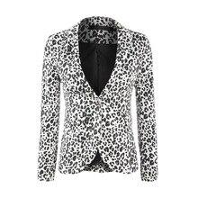 Fashion Soft Leopard Print Suit Casual Woman Double Flip Front Bag Back Slit 2019 Women Jackets and Coats