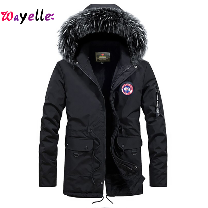 2019 Warm Solid Men Jackets With Fur Hood Men's Casual Jackets Thicken Hooded   Parka   Zipper Male Coat Plus size S-4XL