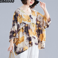 DIMANAF Plus Size Women Blouse Shirts Summer Beach Floral Print Lady Tops Tunic