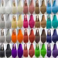 HSIU 2017 NEUE 100cm Lange Perücken hohe temperatur faser Synthetische Perücken Kostüm Cosplay Perücken Party Perücken 20 farbe