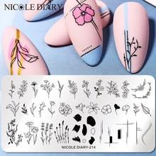 Nicole diário linha flor design misto carimbar placas sexy menina rosto arte do prego carimbo modelos folha geométrica estêncil impressão
