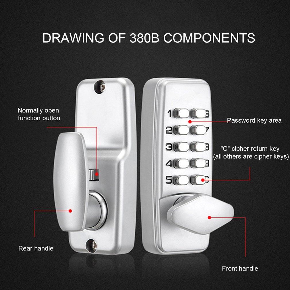380B Digital Password Door Lock Mechanical Code Keyless Entry Door Lock Waterproof Generation Password Electronic L