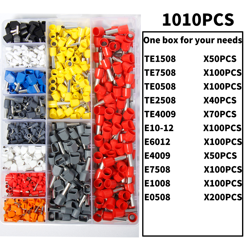 720Pcs VE7508 20AWG Tube Tublar Style Insulated Cable Wire Ends Terminals