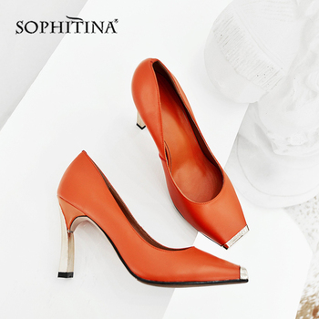 SOPHITINA New Office Women Pumps Mature High Quality Cow Leather Metal Decoration Square Toe 8.5cm Heel Shoes Sip-On Pumps MO443