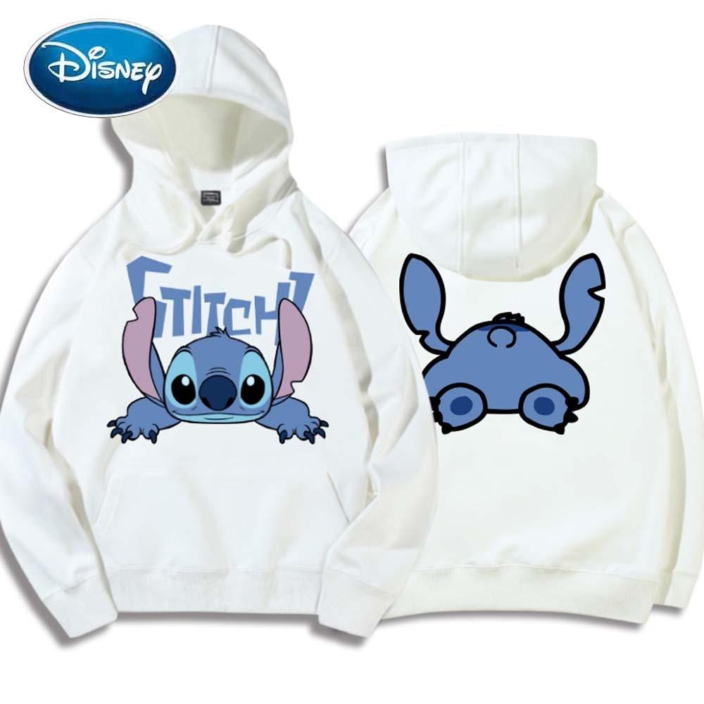 Disney Chic Fashion Stitch Little Monster Letter Cartoon Hoodie Pullover Cute Couples Unisex Women Sweatshirt Pocket Top 6 Color
