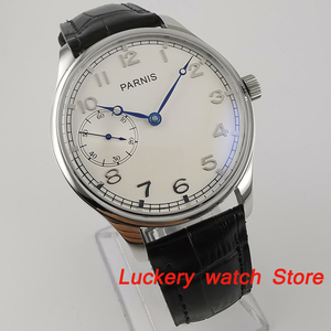 Image 2 - Parnis 44mm Manual mechanical watch white dial 17 jewels 6497 hand winding movement Casual Men watches