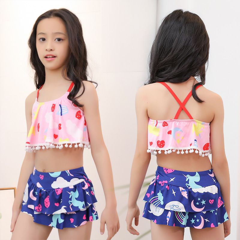 2019 New Products GIRL'S Swimsuit 40-55 Jin Big Boy Split Skirt-Conservative Baby Swimwear Nt526843