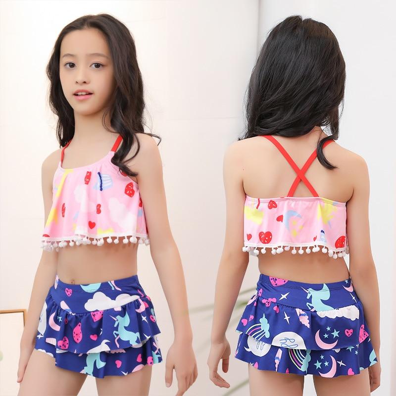 2019 New Products GIRL'S Swimsuit 40-55 Jin Big Boy Split Skirt-Conservative Baby Swimwear Nt526843