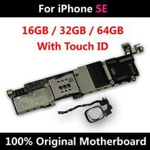 Placa base 100% Original para iPhone SE, placa base desbloqueada con ID táctil, placa lógica IOS, función completa, envío gratuito