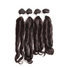 SOKU Fumi кудрявые 4 пучка одна упаковка 16-18 дюймов Синтетические волосы пучки натуральные мягкие темно-коричневые волосы ткет наращивание тепла устойчивы