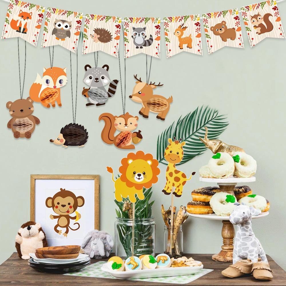 QIFU Tableware Woodland Animals Party Decor Jungle Safari Birthday Party Decor Jungle Animal Forest Bithday Party Supplies
