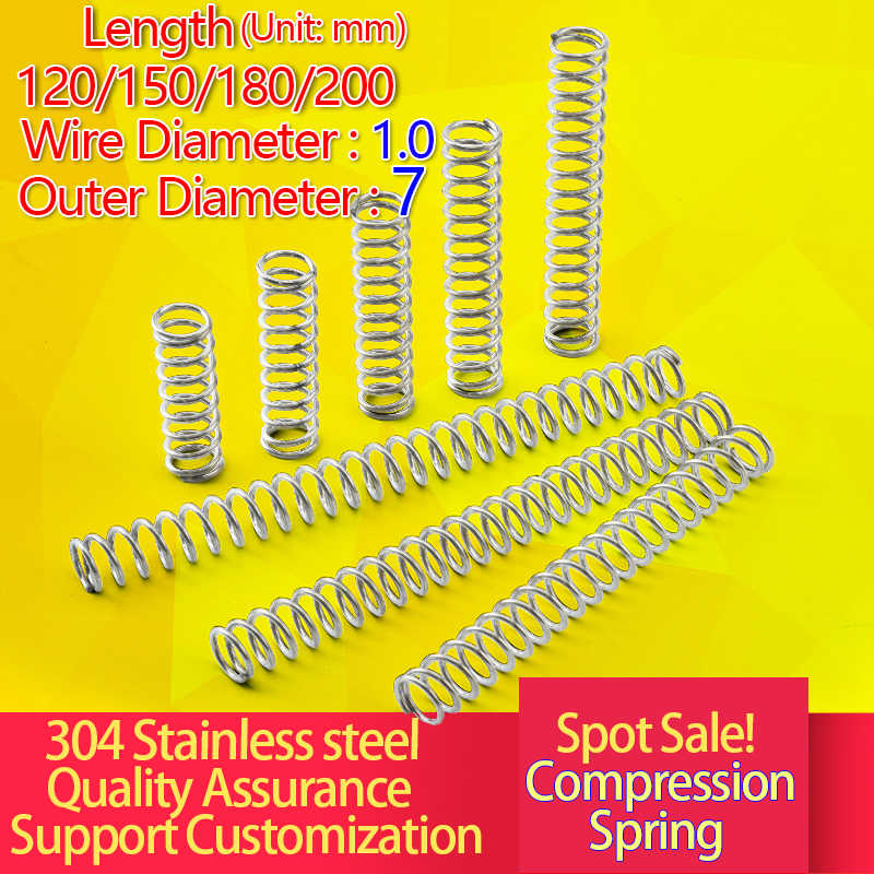 304 mola de compressão de aço inoxidável comprimento da mola de compressão 120/150/180/200 longo mola y diâmetro do fio: 1.0 mmod: 7mm