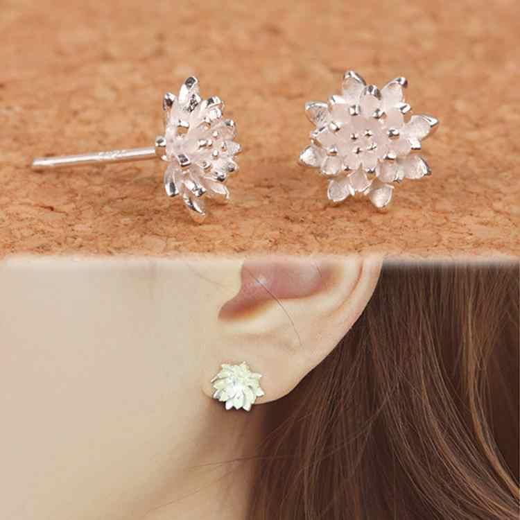 2018 mignon femme bijoux à la main femmes 925 argent fleur oreille boucles d'oreilles oreille-0585