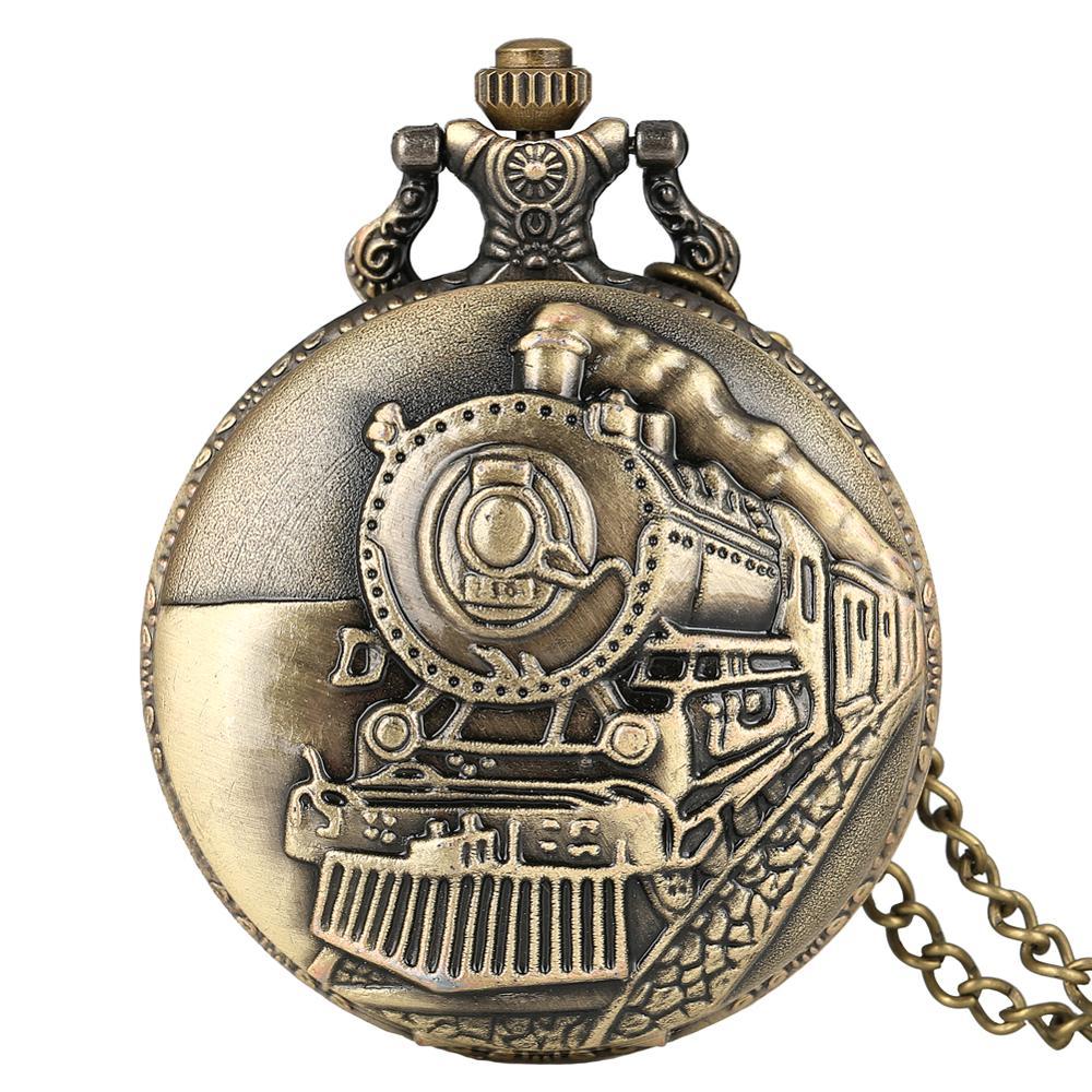 New Arrival Antique Bronze Pocket Watch Train Front Locomotive Engine Necklace Chain Clock Quartz Pendant Watches Free Shipping