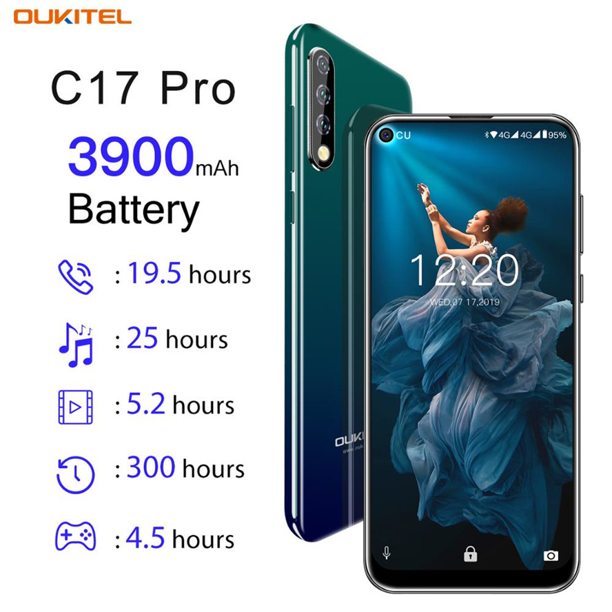 Versão global oukitel c17 pro android 9.0 torta smartphone face id 6.35