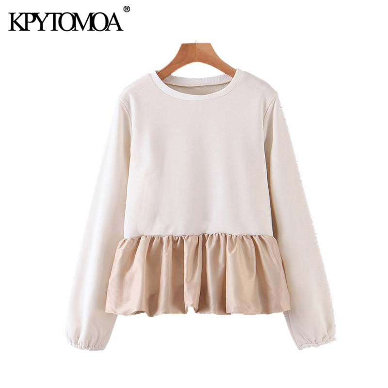 Vintage Sweet Patchwork Ruffled Sweatshirt Women 2020 Fashion O Neck Long Sleeve Pleated Female Pullovers Chic Tops