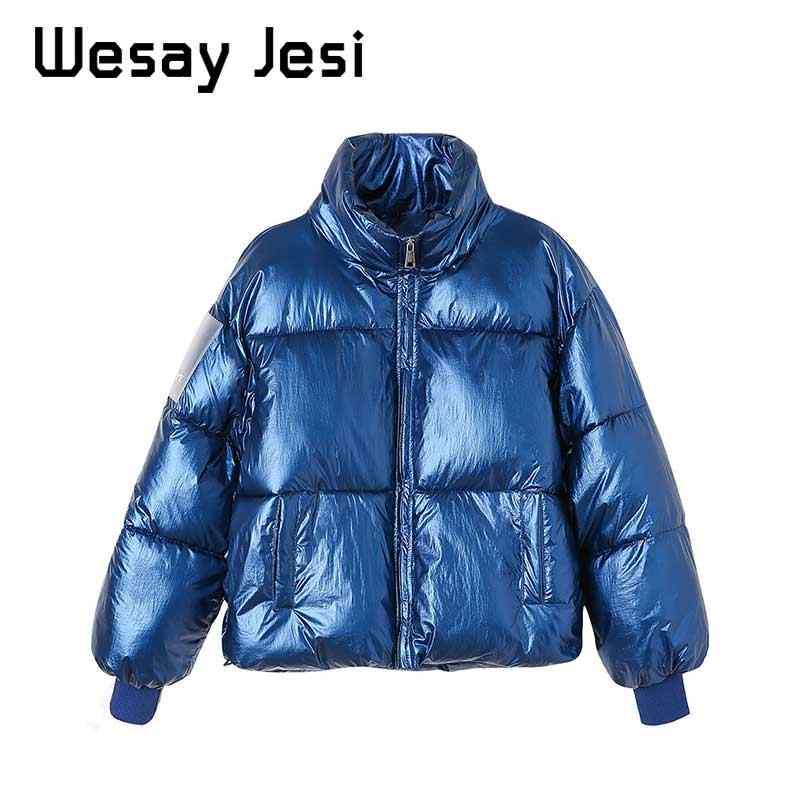 Women Parka Coats Autumn casual Shiny Women's jacket Outwear Winter thick Jackets girl warm loose fashion Glossy short coats