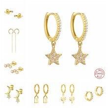 Echt 925 Sterling Silber Ohrring Für Frauen Mädchen Sterne Zirkon Ohrringe Silber Gold Farbe Huggie Hoop Ohrring Ohrringe Geschenke A30