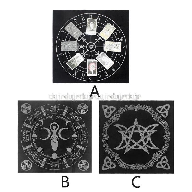 49x49cm Tarot Tablecloth Triple Moon Pentagram Pagan Altar Tarot Cloth Flannel S16 19 Dropship