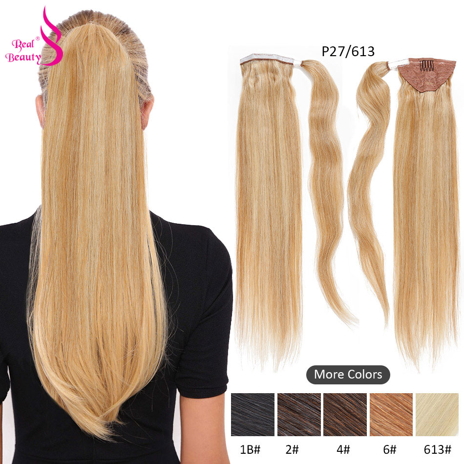 Real Beauty Straight Ponytail Human Hair Clip In Black / Blonde Brazilian Remy Hairpieces Clip In Ponytail Hair Extensions