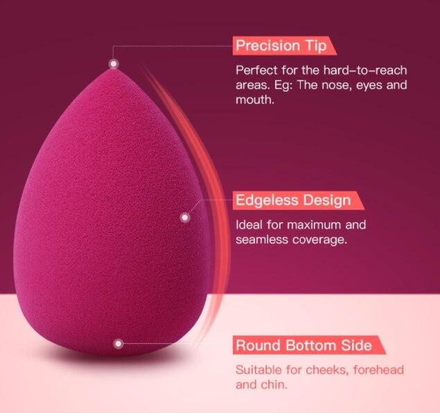 BeautyPaPa Hot Red Beauty Makeup Sponge Blender Cosmetic Puff Applicator Super Soft For Powder Smooth concealer Blending 5