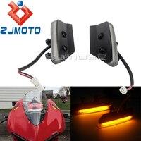 Motocicleta led âmbar luz indicadores de volta para ducati 959 1299 panigale led espelho bloco fora sinais volta