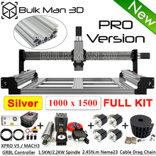 1015 silber QueenBee PRO CNC Maschine Full Kit mit Linear Schienen Upgrade Basierend WorkBee Maschine Tingle Spannung System 4 Achse mühle