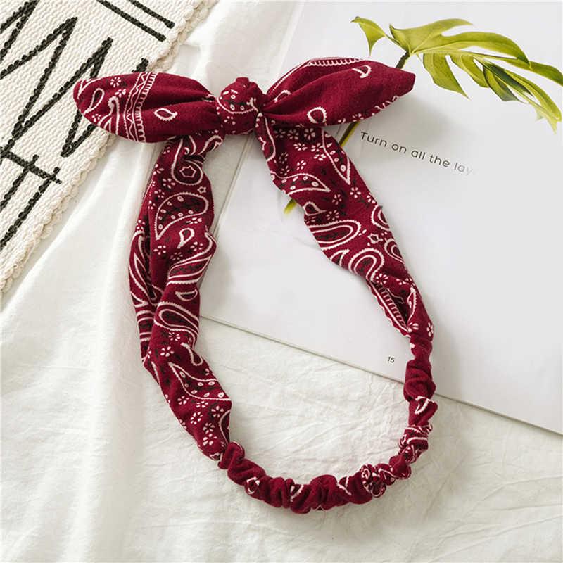 Moda kobiety dziewczęta lato czeski opaski do włosów drukuj opaski Vintage krzyż Turban bandaż bandany HairBands akcesoria do włosów