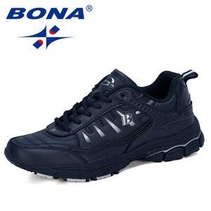 Image 1 - BONA 2019 Yeni Tasarımcı Açık Erkekler koşu ayakkabıları Inek Bölünmüş Koşu Yürüyüş spor ayakkabı Dantel up Athietic Spor Ayakkabı Adam Moda
