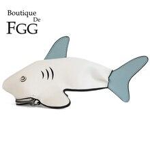 Boutique De FGG PU Faux Leather New 3D Animal Design Shark C