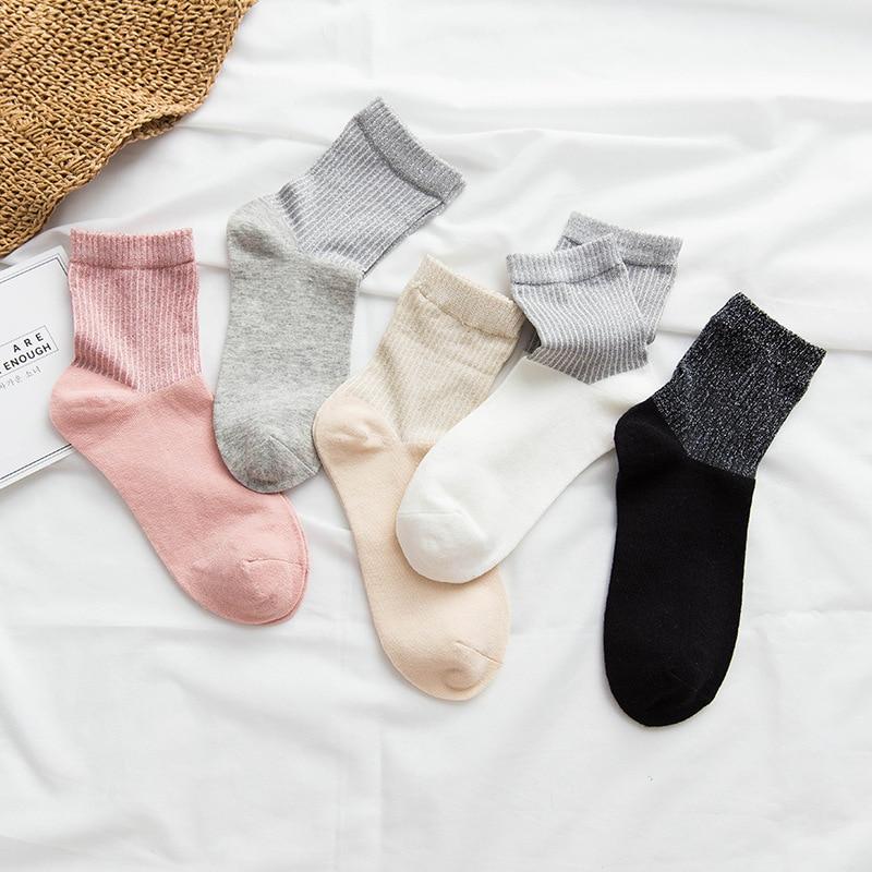Women's Fashion Socks  Long Silk Socks Girls Cotton Patchwork Women Fashion Socks Women Cotton Casual Color Socks