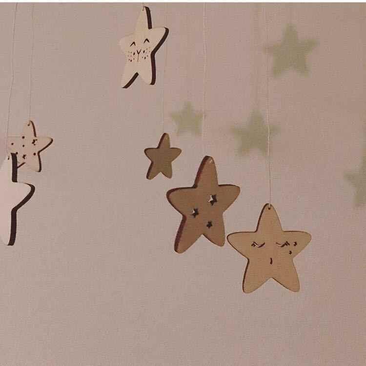 60cm * 23cm DIY Ins viento nórdico estrella de madera campanas decoración Banner habitación de bebé decoración protectores de cama niños fiesta bolas niños
