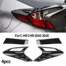 4Pcs Carbon Fiber Style Rear Back Lamp Tail Light Cover Trim for Fit Toyota CHR C-HR 2016-2018