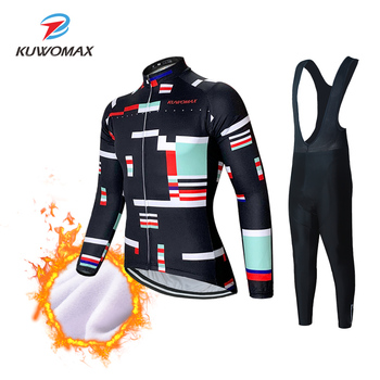 KUWOMAX Winter Thermal Fleece Cycling Jersey Set 2020 Racing Bike Cycling Suit Mountain Bicycle Cycling Clothing Ropa Ciclismo.