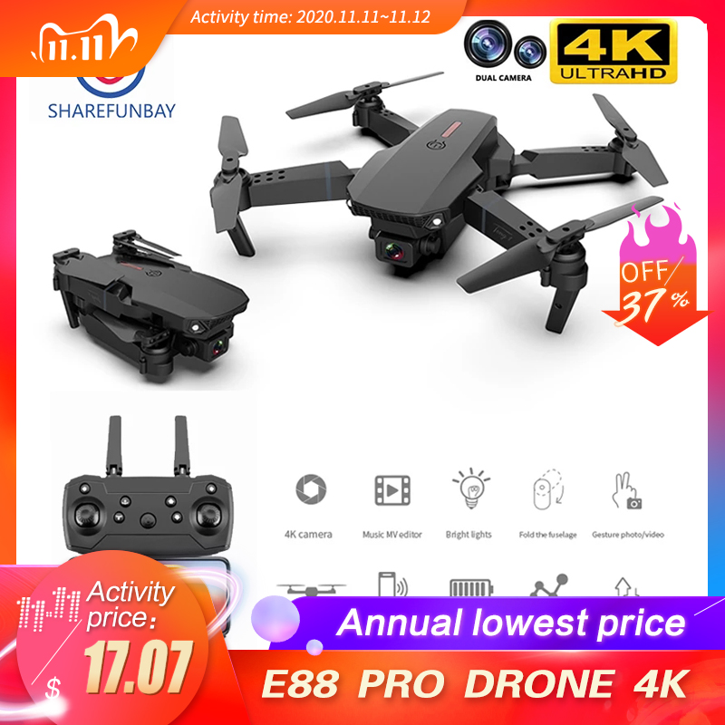 Mini drone E88 Pro 4k HD dual camera visual positioning 1080P WiFi FPV drone height preservation RC Quadcopter