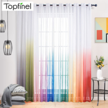 Topfinel Gradient Tulle Transparent Curtains for Living Room Bedroom Kitchen Sheer Curtains Home Decor Window Treatment Drapes