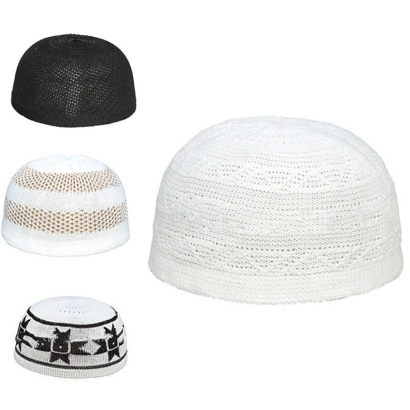 ผู้ชายเย็บปักถักร้อยมุสลิมอิสลามสวดมนต์Skull BeanieหมวกหมวกอิสลามJerseyหัวฤดูใบไม้ผลิฤดูใบไม้ร่วง
