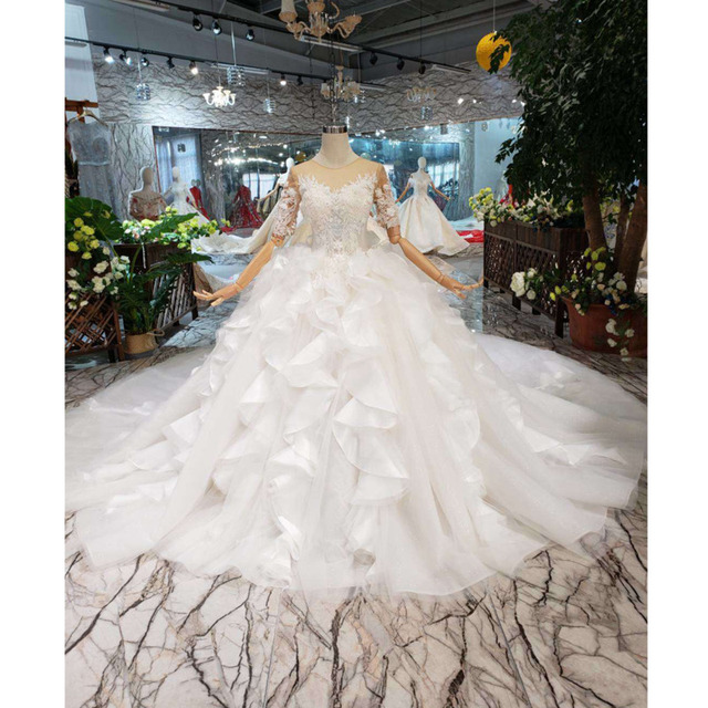 BGW HT567 Ruffle Style Wedding Dresses Like White Short Sleeves Illusion Back Zipper Luxury Handmade Ball Gown Wedding Gown 2020