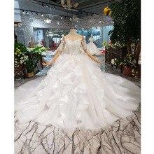 Bgw ht567 ruffle estilo vestidos de casamento como branco mangas curtas ilusão voltar zíper luxo artesanal vestido de baile vestido de casamento 2020