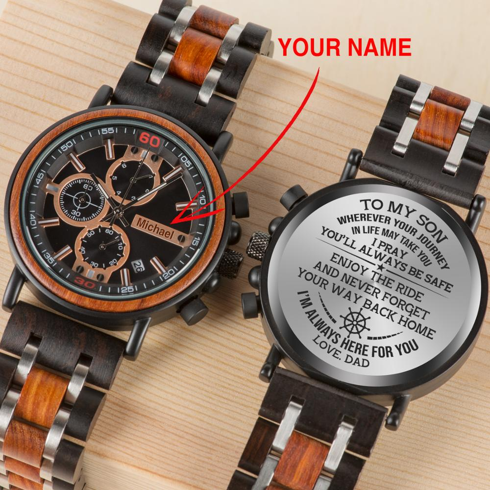 BOBOBIRD Customized  Wood Watch Engrave Your Personalized Logo On The Back Relogio Masculino With Wood Box Boyfriend Gifts