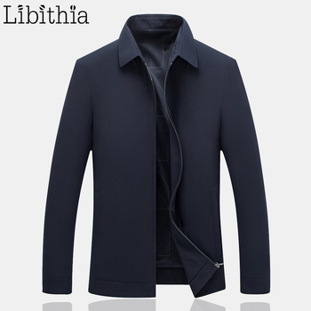 Men's Casual Jackets Coat Solid Colors Long Sleeve Turn-down Collar Autumn Big Size M-4XL Zippers Blue Green Clothes Male B032