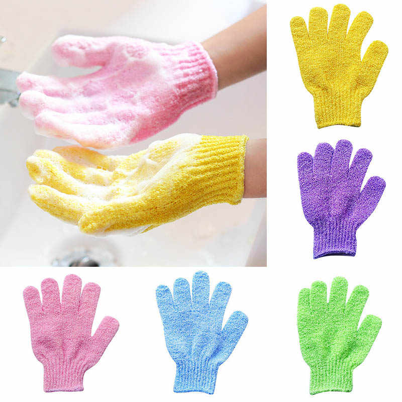 1 paar Douche Handschoenen Exfoliërende Wassen Huid Spa Bad Handschoenen Foam Bad Stroefheid Body Massage Cleaning Scrubber