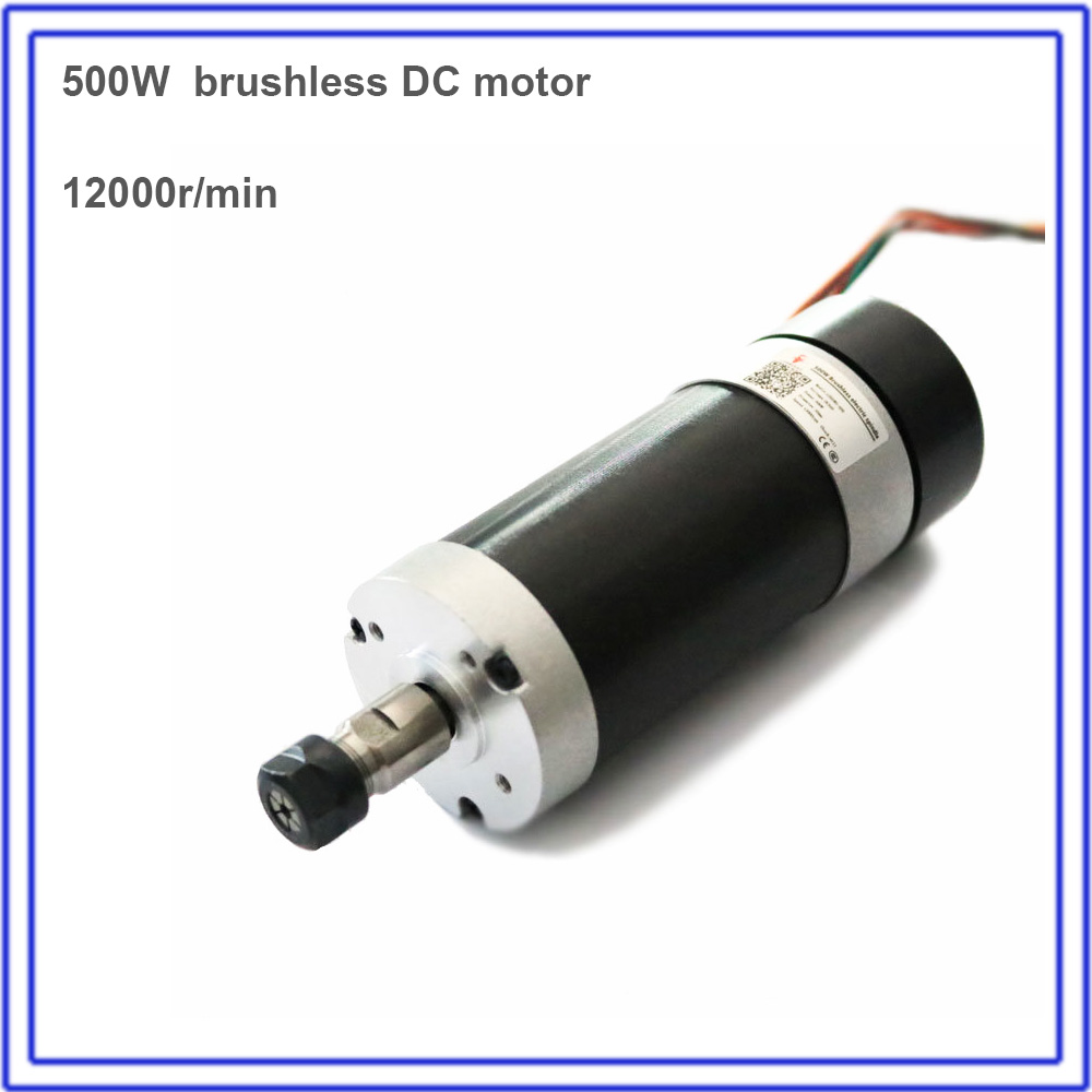 500W Brushless Spindle 60Ncm 12000rpm DC 48V 55mm Motor ER11 Collets for CNC Drilling Milling Carving Metal Plastic Wood Working